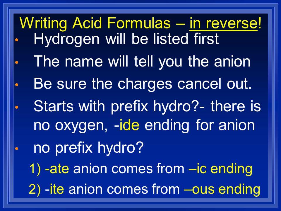 Writing Acid Formulas – in reverse!