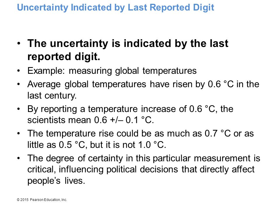 The uncertainty is indicated by the last reported digit.