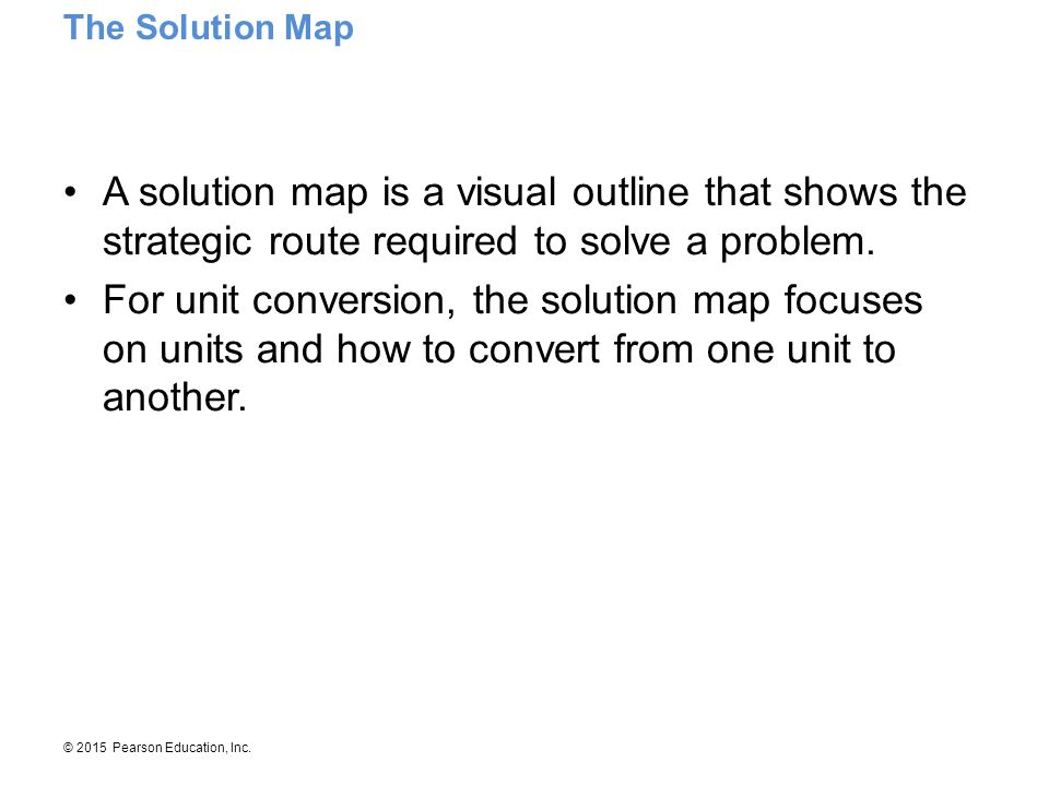 The Solution Map A solution map is a visual outline that shows the strategic route required to solve a problem.
