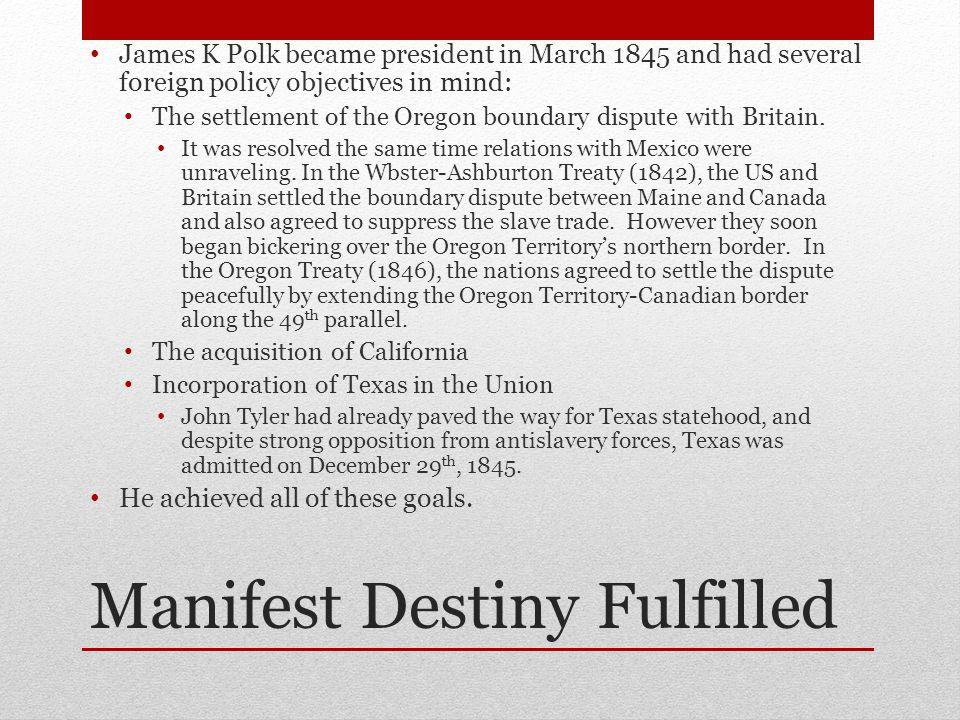 Manifest Destiny Fulfilled