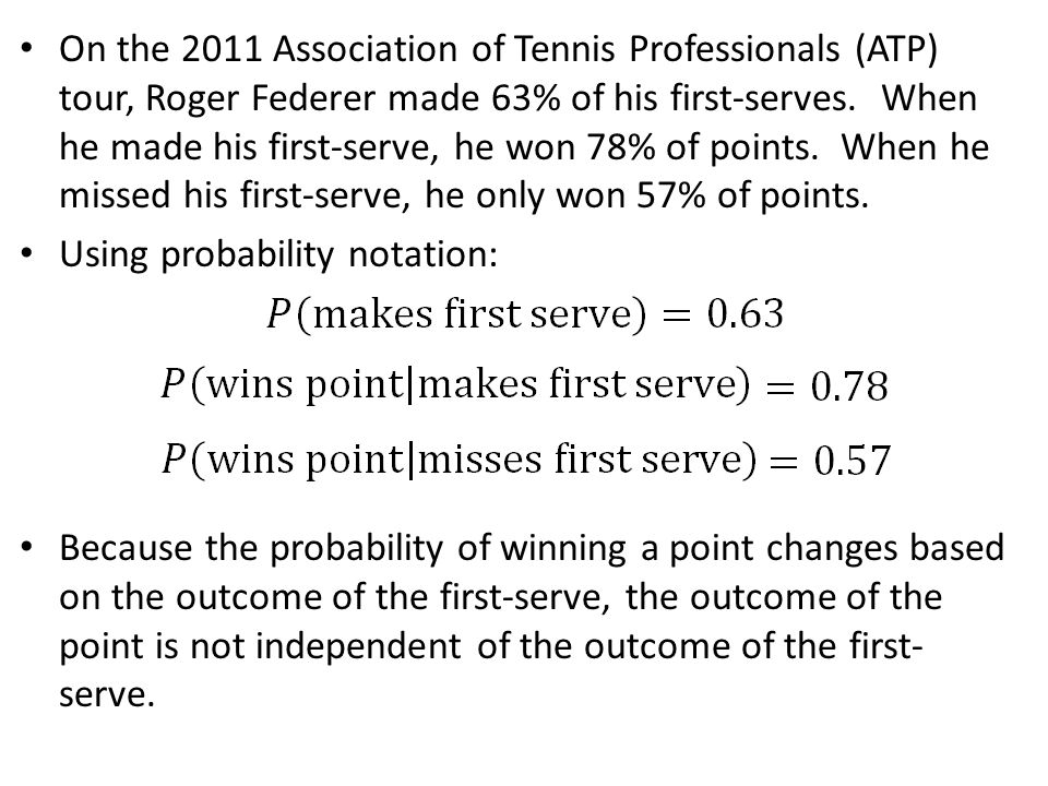 On the 2011 Association of Tennis Professionals (ATP) tour, Roger Federer made 63% of his first-serves. When he made his first-serve, he won 78% of points. When he missed his first-serve, he only won 57% of points.