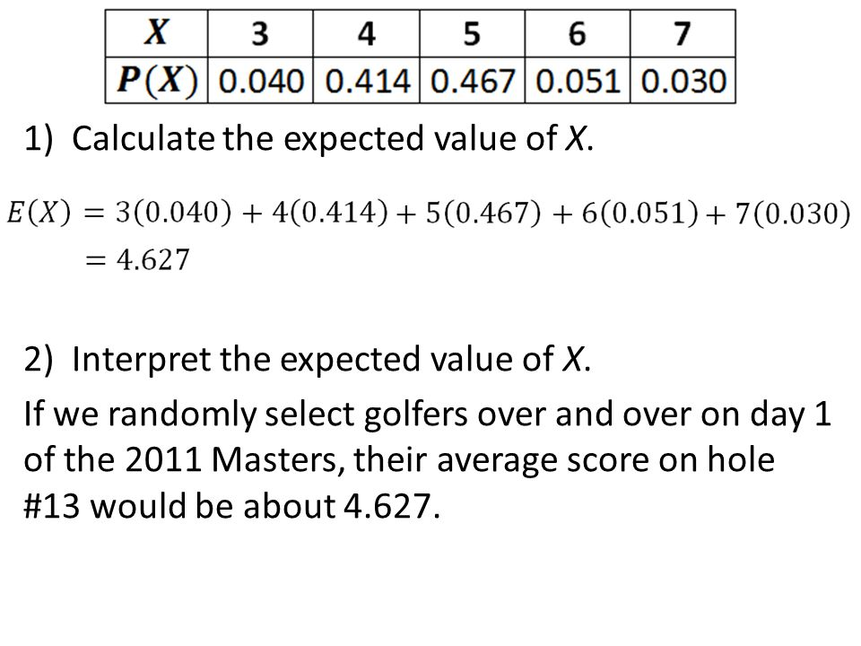 Calculate the expected value of X.