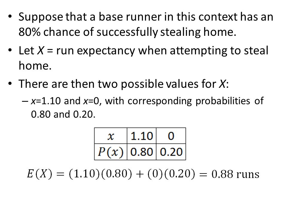 Let X = run expectancy when attempting to steal home.