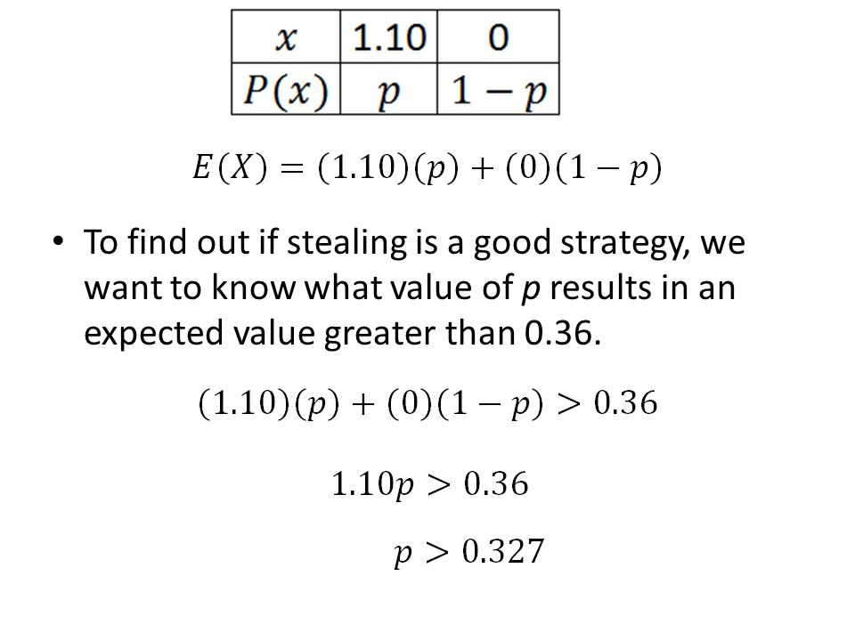 To find out if stealing is a good strategy, we want to know what value of p results in an expected value greater than 0.36.