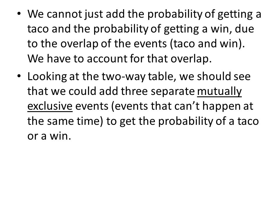 We cannot just add the probability of getting a taco and the probability of getting a win, due to the overlap of the events (taco and win). We have to account for that overlap.