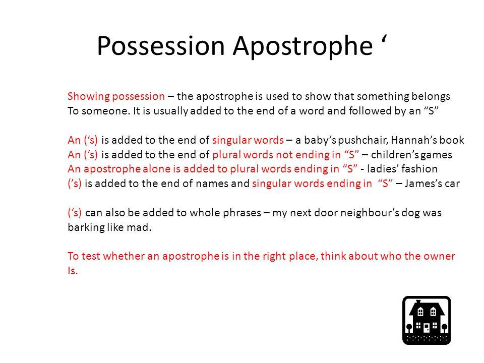 Possession Apostrophe '