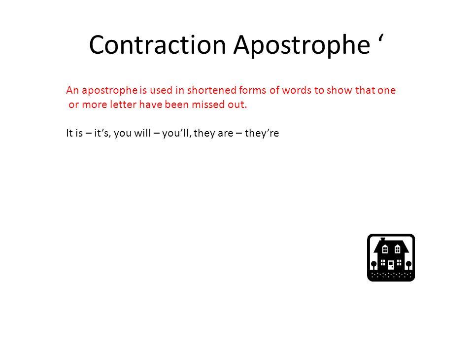 Contraction Apostrophe '
