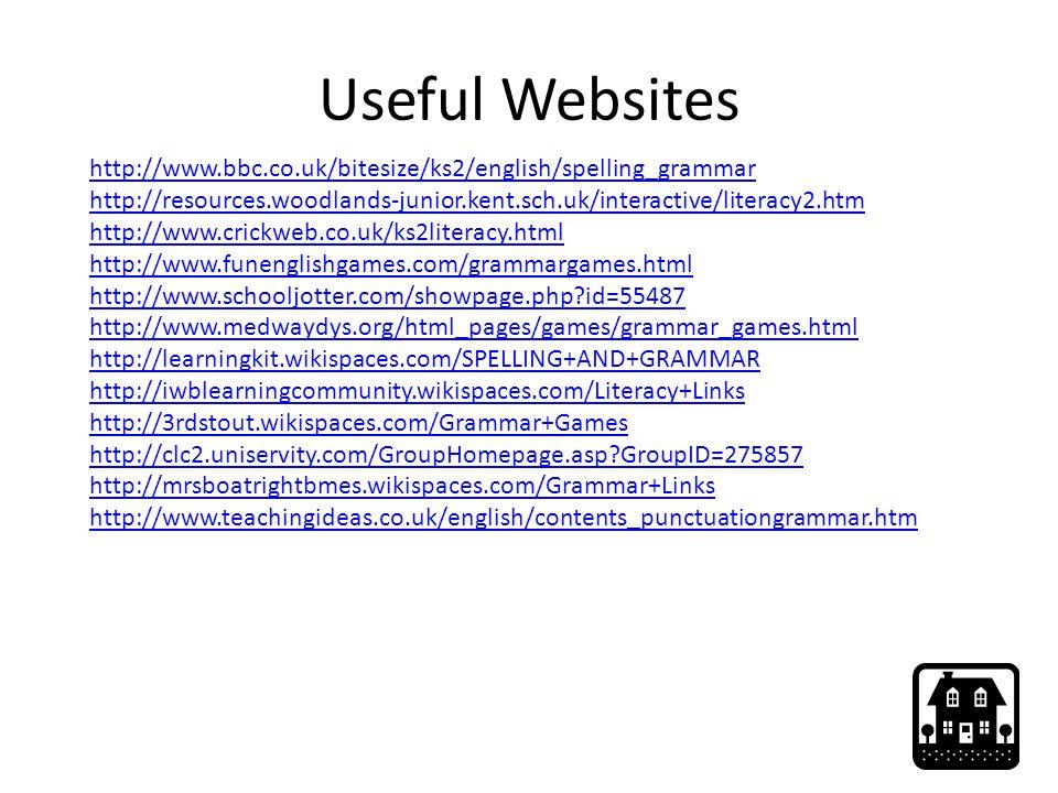 Useful Websites http://www.bbc.co.uk/bitesize/ks2/english/spelling_grammar. http://resources.woodlands-junior.kent.sch.uk/interactive/literacy2.htm.