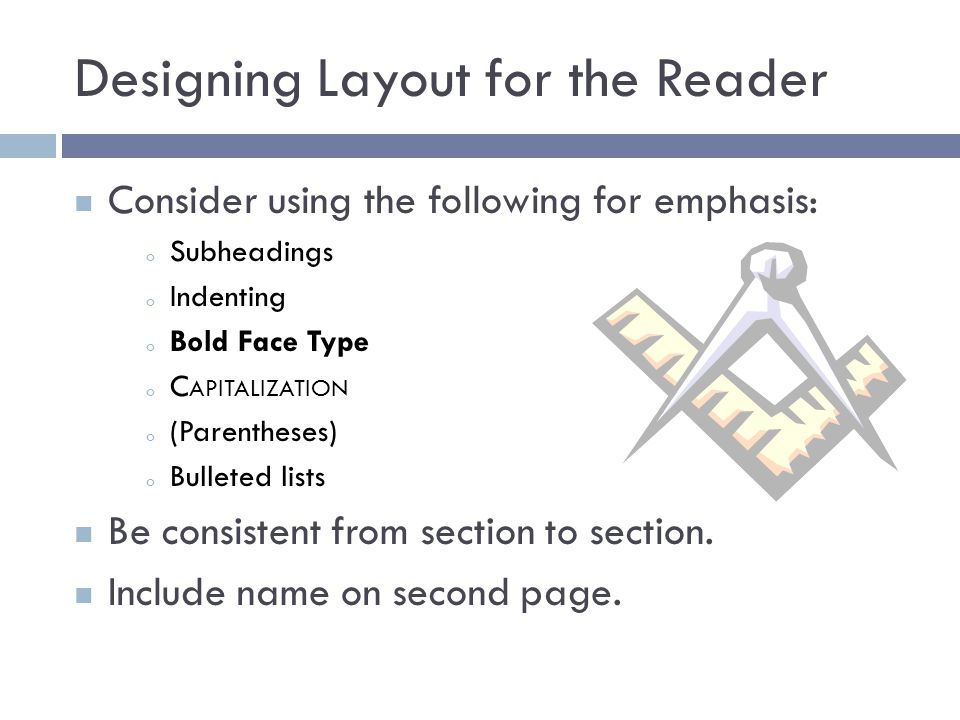 Designing Layout for the Reader