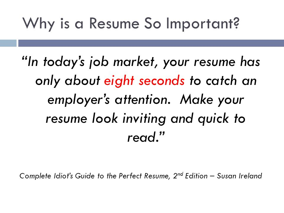 Why is a Resume So Important