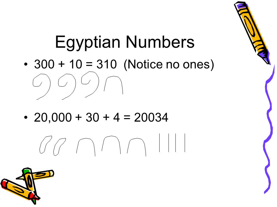 Egyptian Numbers 300 + 10 = 310 (Notice no ones)