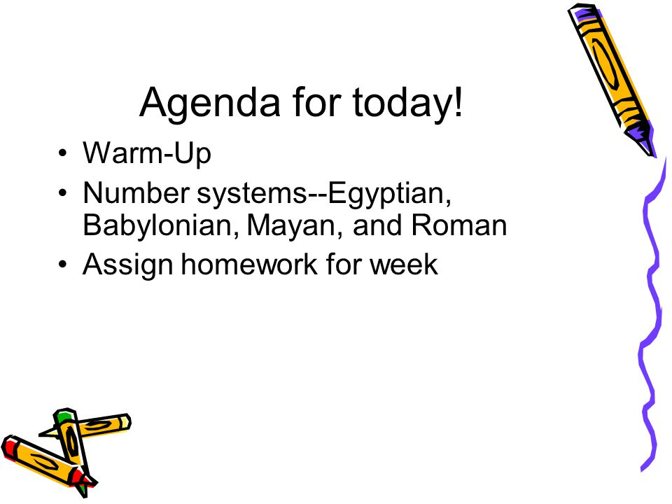 Agenda for today! Warm-Up