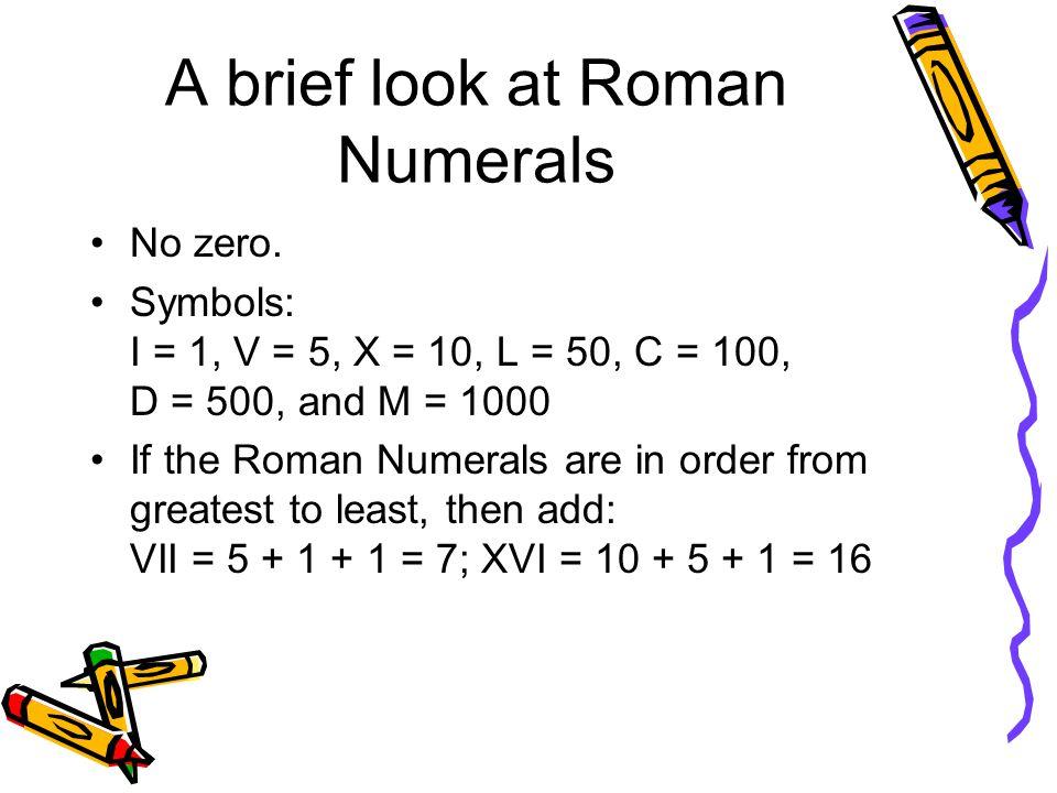 A brief look at Roman Numerals