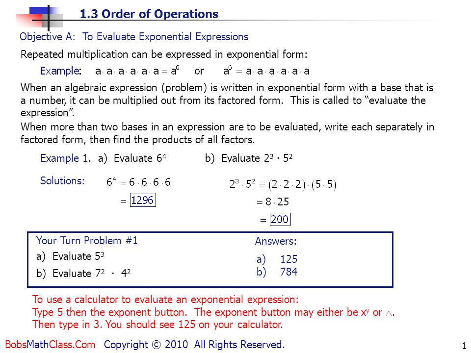 Objective A: To Evaluate Exponential Expressions