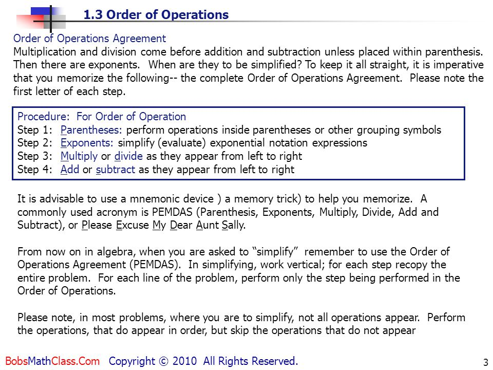 Order of Operations Agreement