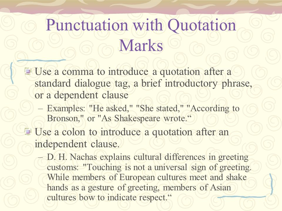 Punctuation with Quotation Marks