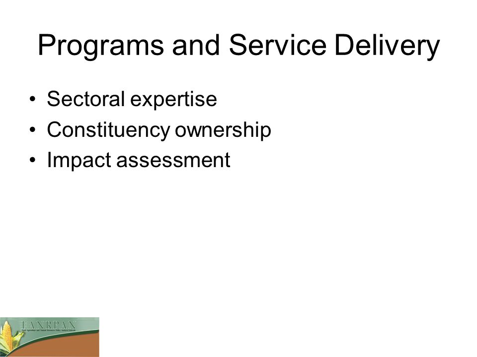 Programs and Service Delivery