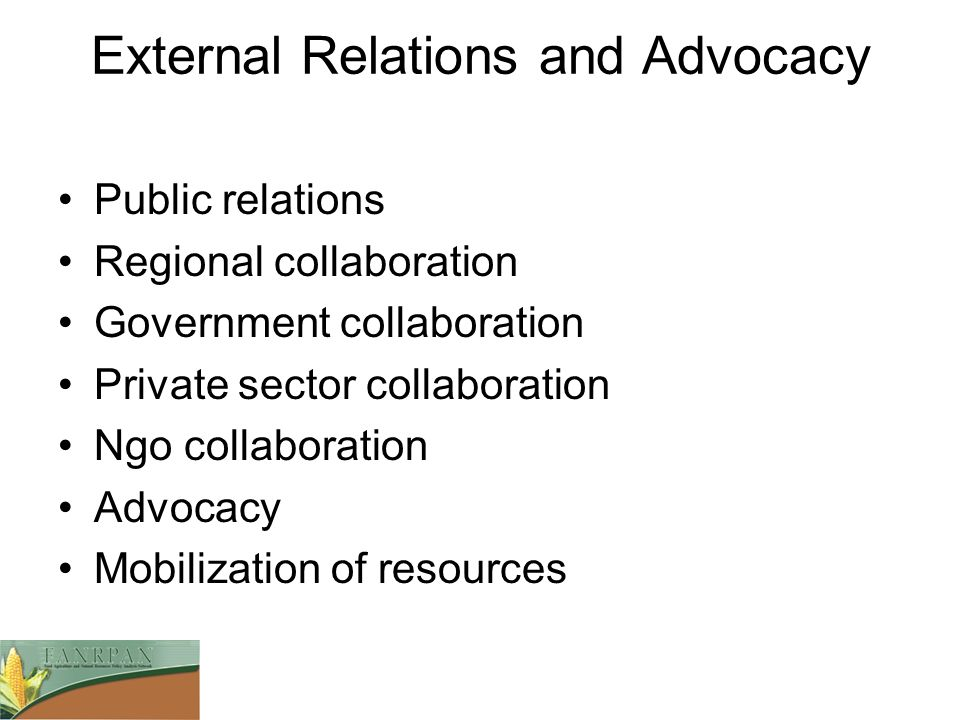 External Relations and Advocacy