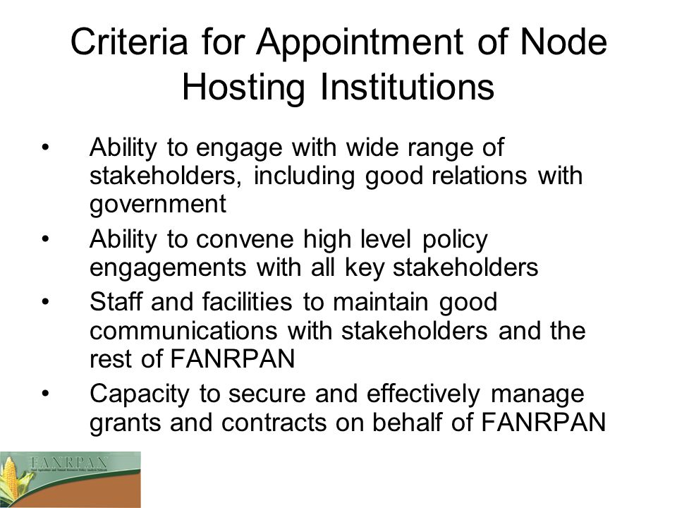 Criteria for Appointment of Node Hosting Institutions