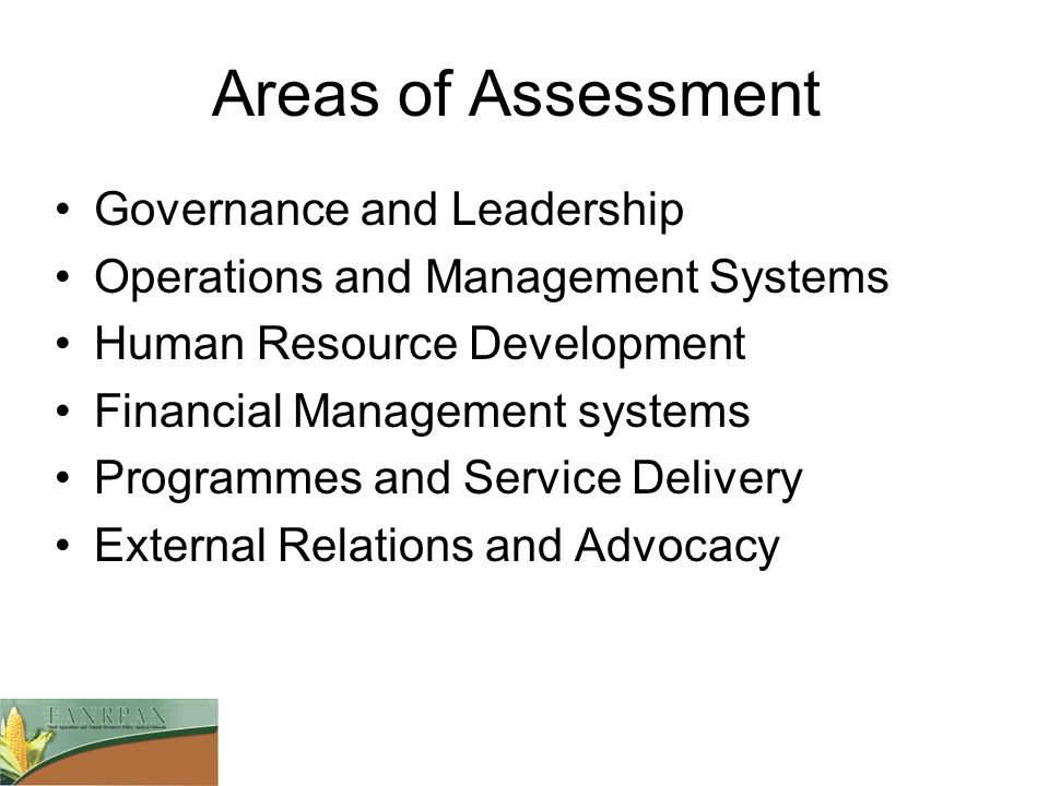 Areas of Assessment Governance and Leadership