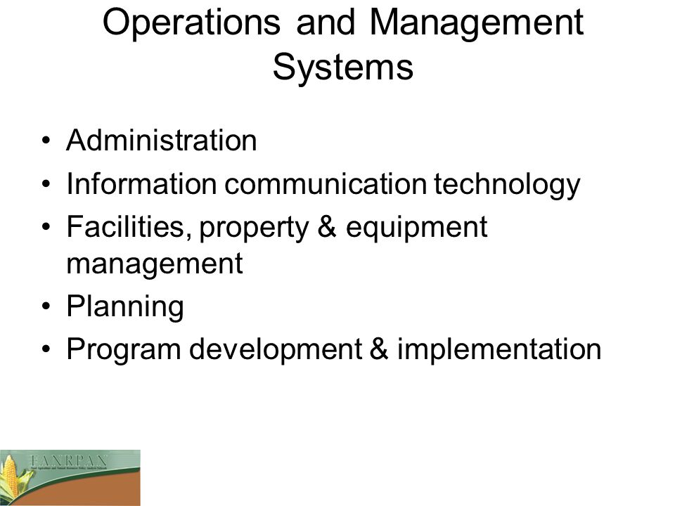 Operations and Management Systems