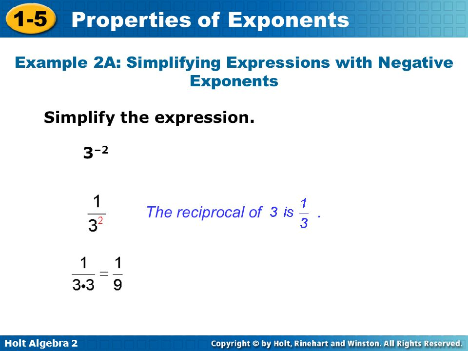 Example 2A: Simplifying Expressions with Negative Exponents