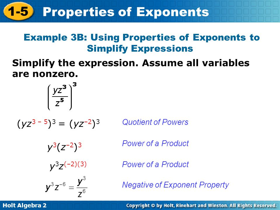 Example 3B: Using Properties of Exponents to Simplify Expressions