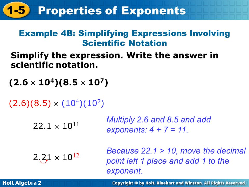 Example 4B: Simplifying Expressions Involving Scientific Notation