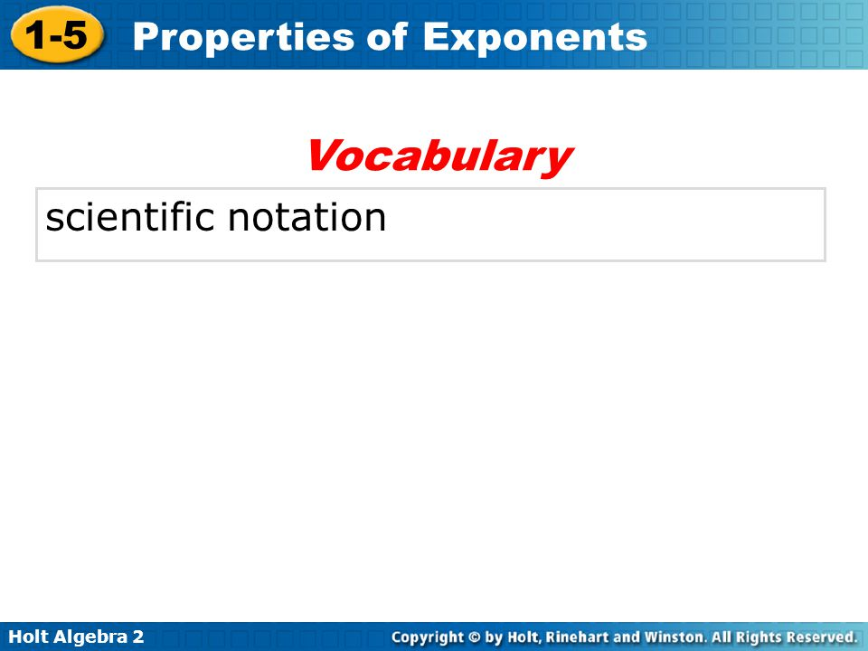 Vocabulary scientific notation