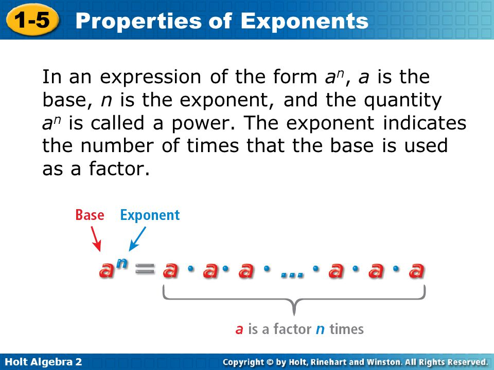 In an expression of the form an, a is the base, n is the exponent, and the quantity an is called a power.