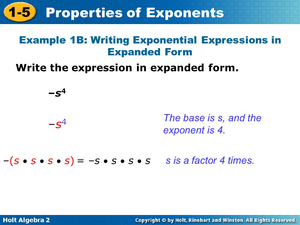 Example 1B: Writing Exponential Expressions in Expanded Form