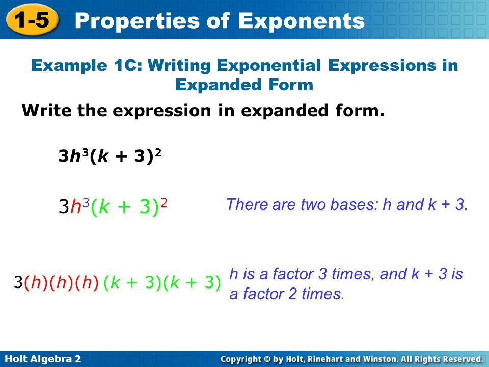 Example 1C: Writing Exponential Expressions in Expanded Form