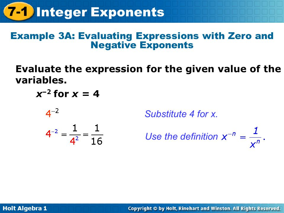 Example 3A: Evaluating Expressions with Zero and Negative Exponents