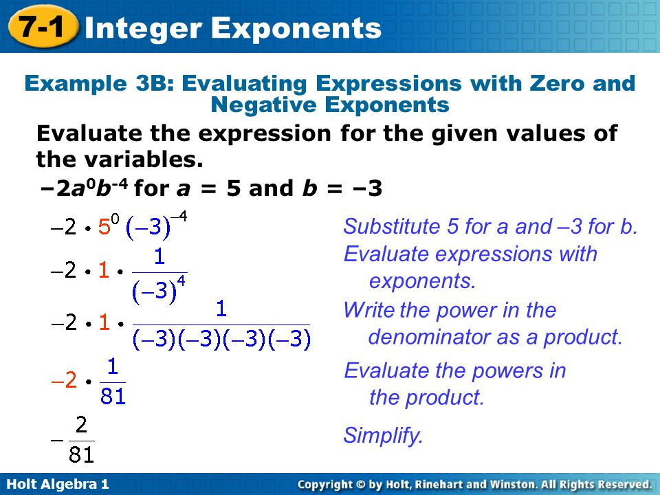 Example 3B: Evaluating Expressions with Zero and Negative Exponents