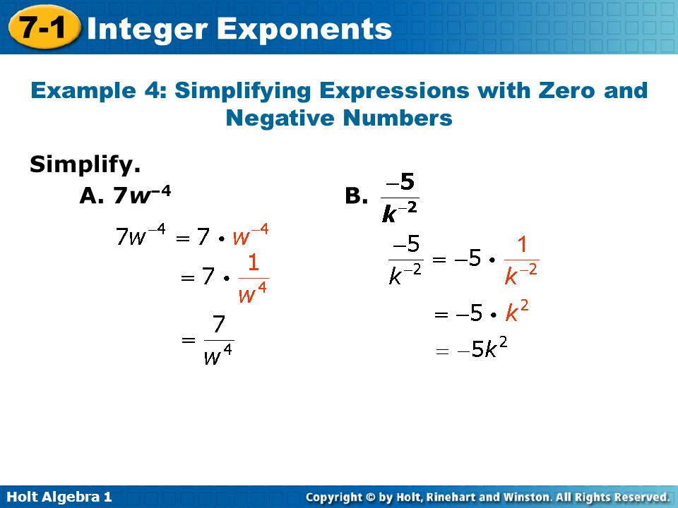 Example 4: Simplifying Expressions with Zero and Negative Numbers