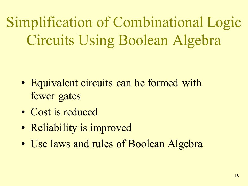 Simplification of Combinational Logic Circuits Using Boolean Algebra
