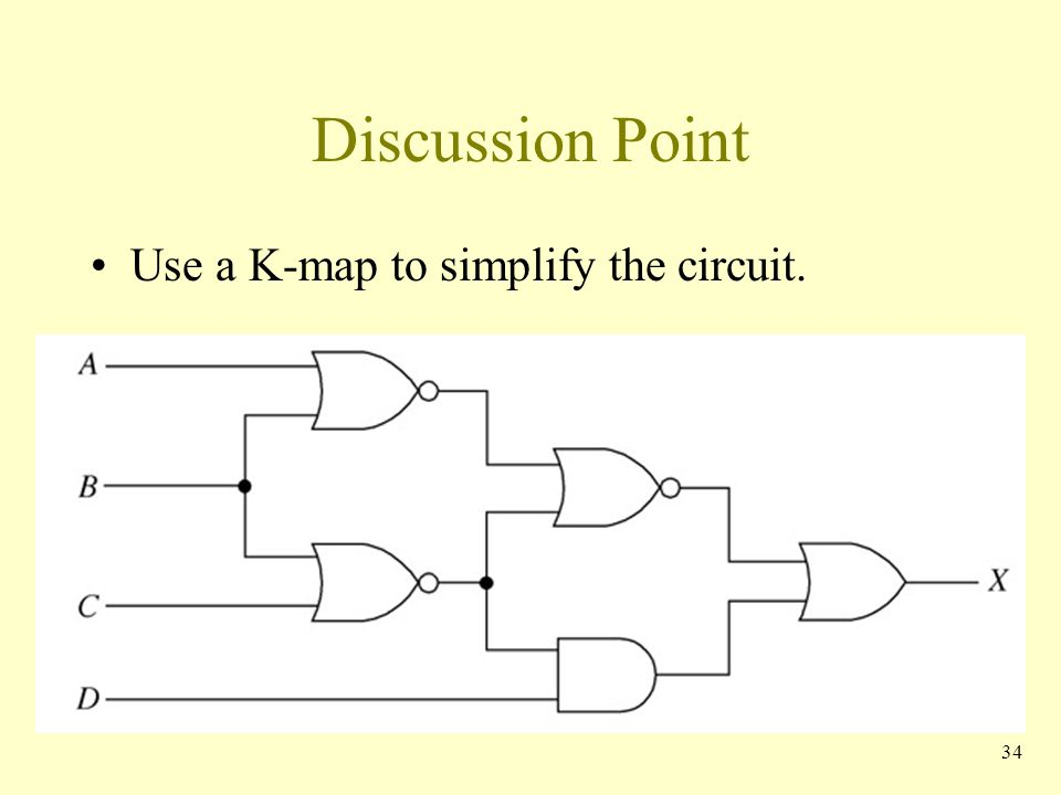 Discussion Point Use a K-map to simplify the circuit. 34