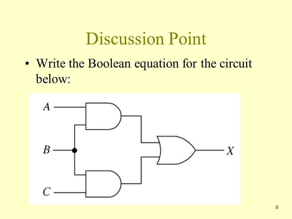 Discussion Point Write the Boolean equation for the circuit below: 6