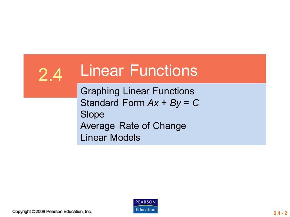 2.4 Linear Functions Graphing Linear Functions