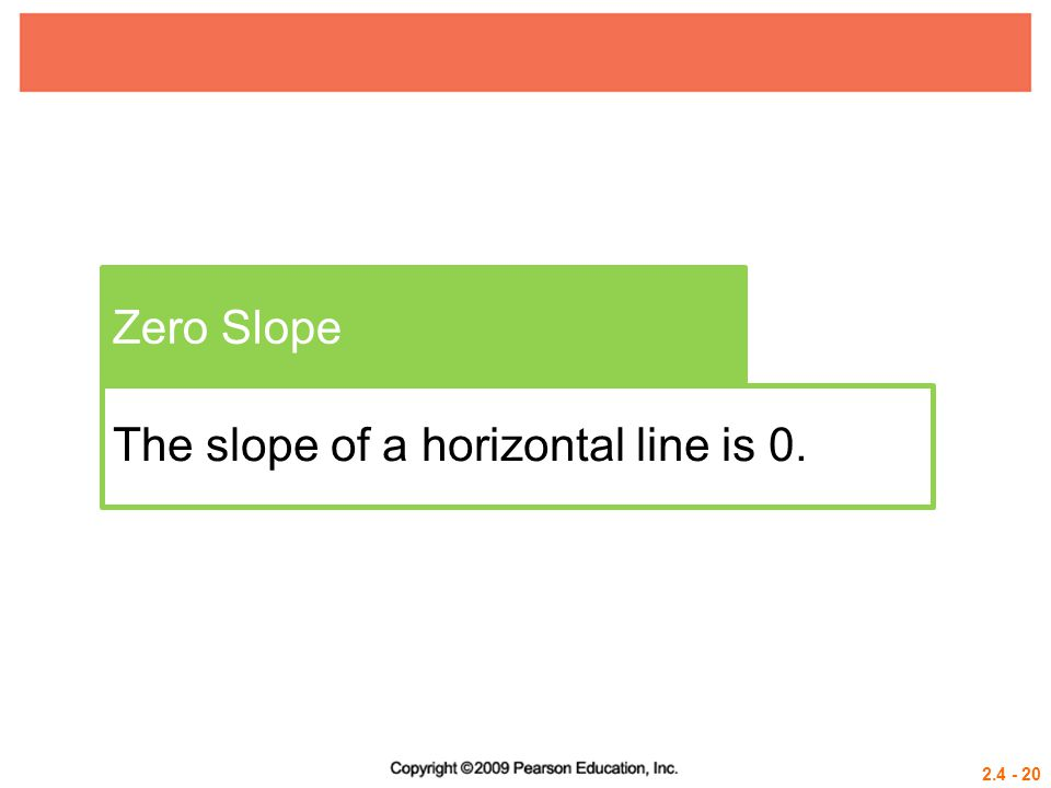 Zero Slope The slope of a horizontal line is 0.