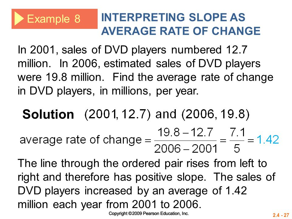 Solution INTERPRETING SLOPE AS AVERAGE RATE OF CHANGE Example 8