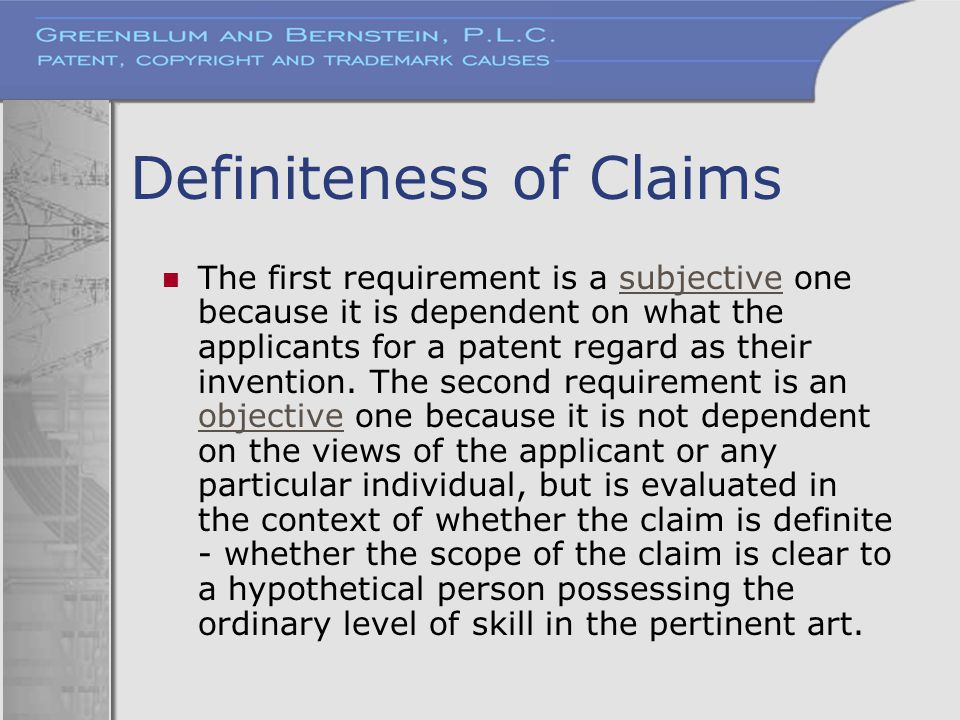 Definiteness of Claims