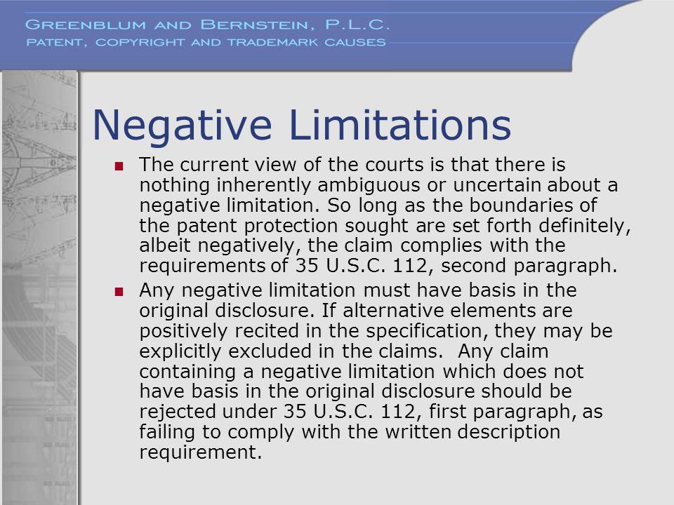 Negative Limitations