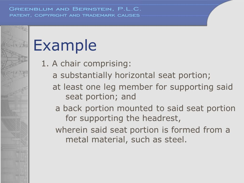 Example 1. A chair comprising: