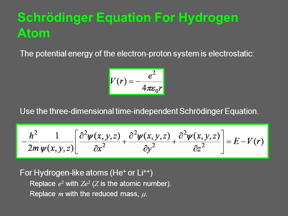 Schrödinger Equation For Hydrogen Atom