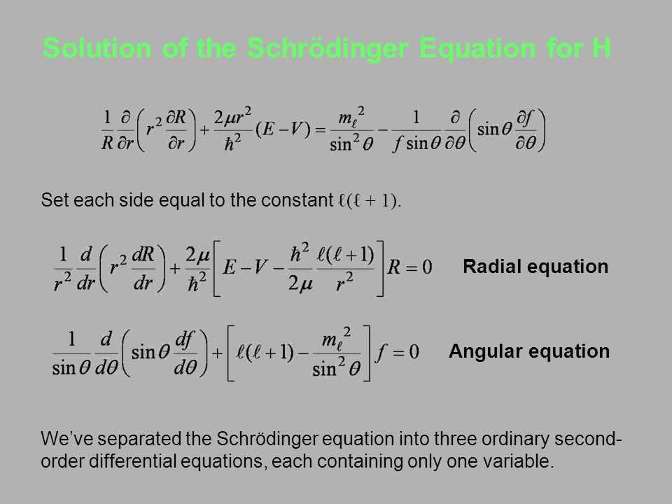 Solution of the Schrödinger Equation for H