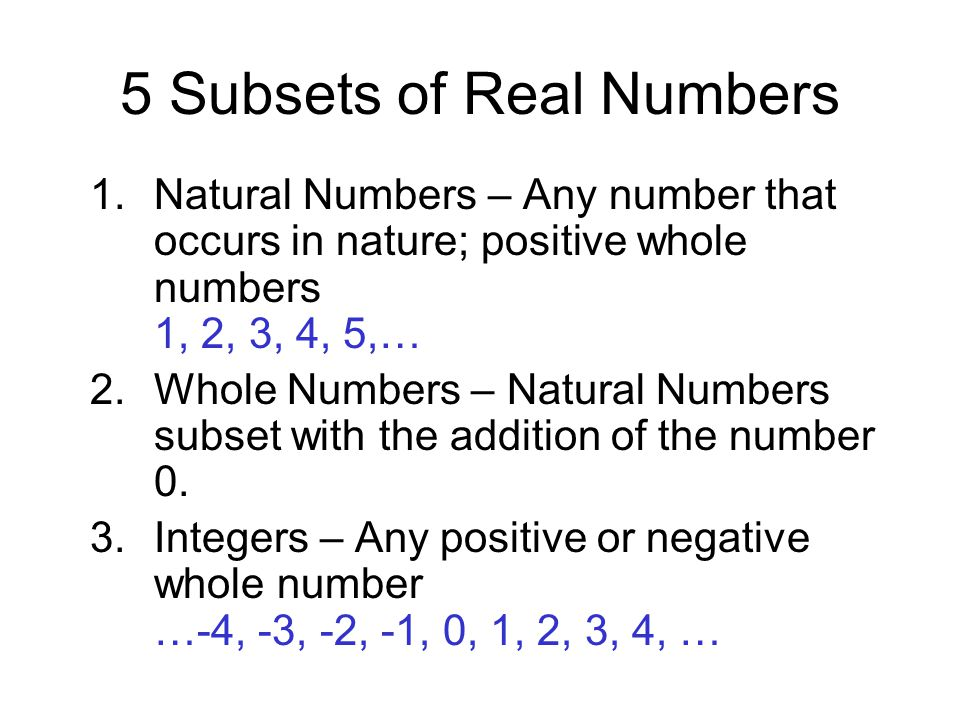 5 Subsets of Real Numbers