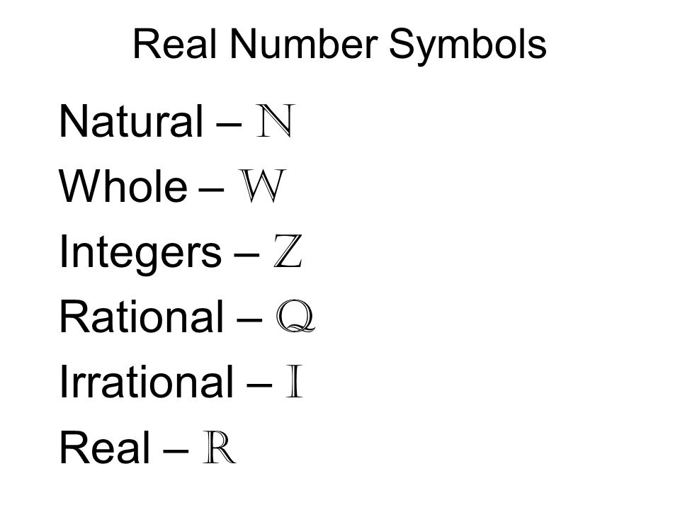 Natural – N Whole – W Integers – Z Rational – Q Irrational – I