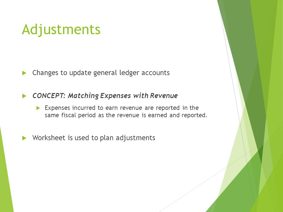 Adjustments Changes to update general ledger accounts