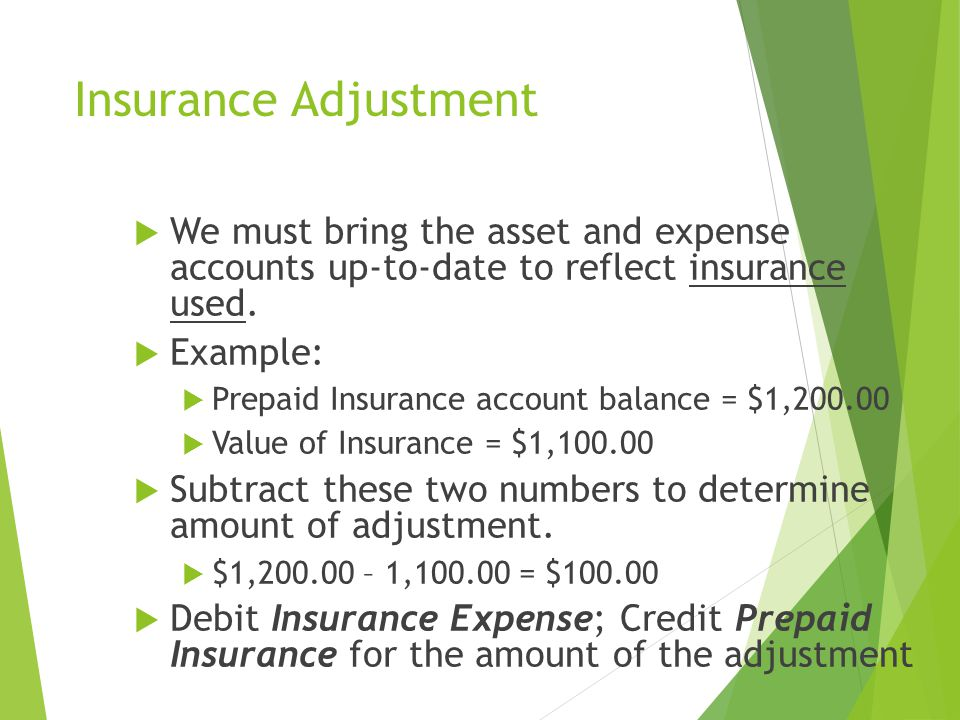 Insurance Adjustment We must bring the asset and expense accounts up-to-date to reflect insurance used.